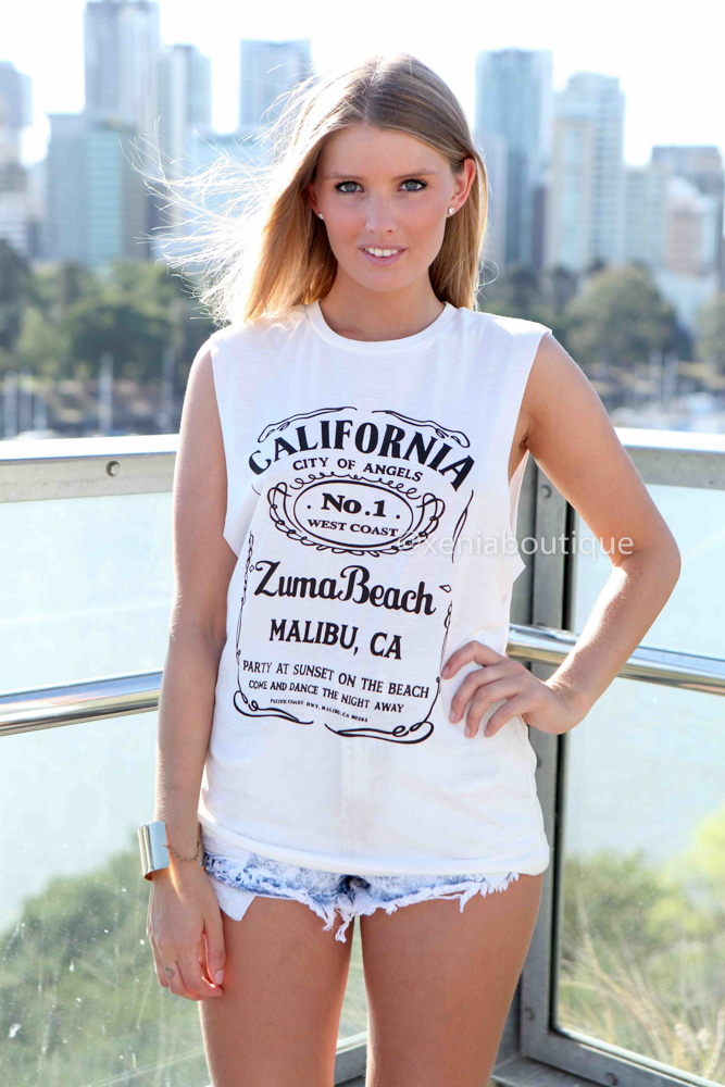 CALIFORNIA TEE  , DRESSES, TOPS, BOTTOMS, JACKETS & JUMPERS, ACCESSORIES, 50% OFF SALE, PRE ORDER, NEW ARRIVALS, PLAYSUIT, COLOUR, GIFT VOUCHER,,White,Print Australia, Queensland, Brisbane