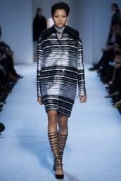 jacket,stripes,striped dress,giambattista valli,fashion week 2016,paris fashion week 2016,runway,fall outfits