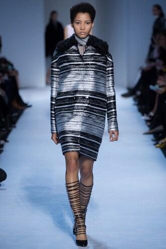 jacket stripes striped dress giambattista valli fashion week 2016 paris fashion week 2016 runway fall outfits