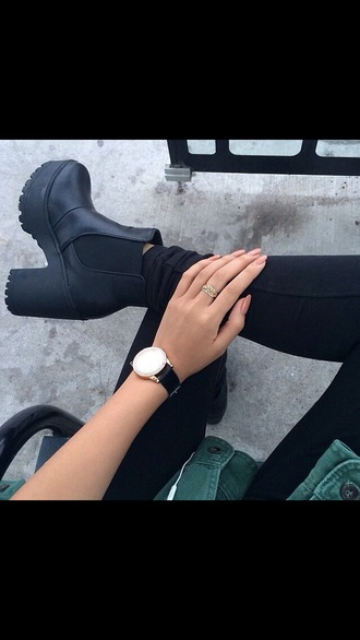 shoes black boot boots grunge fashion chunky heels