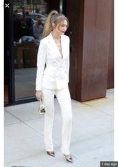 jacket,gigi hadid,white,suit,model