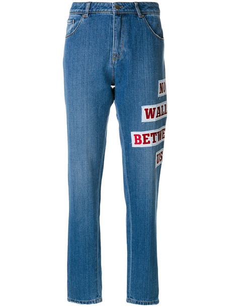 Each X Other - embroidered baggy jeans - women - Cotton - 30, Blue, Cotton