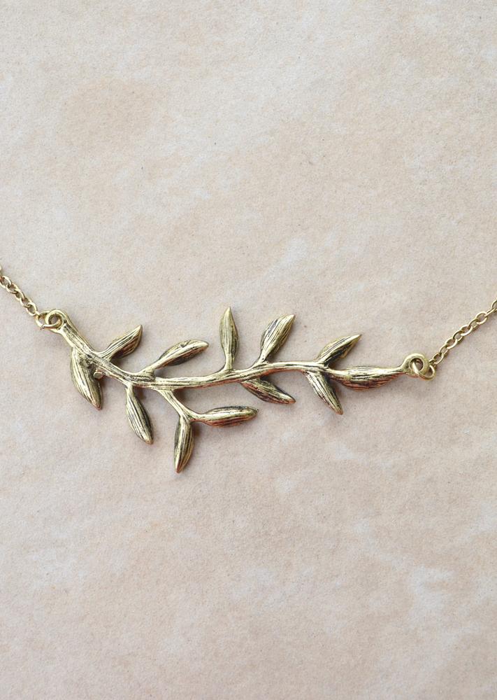 Grecian leaf necklace