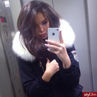 jacket fur coat navy