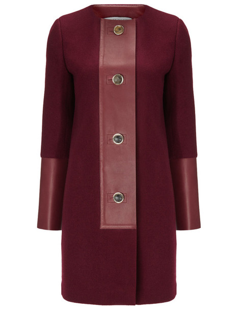 BARBARA CASASOLA coat leather wool red