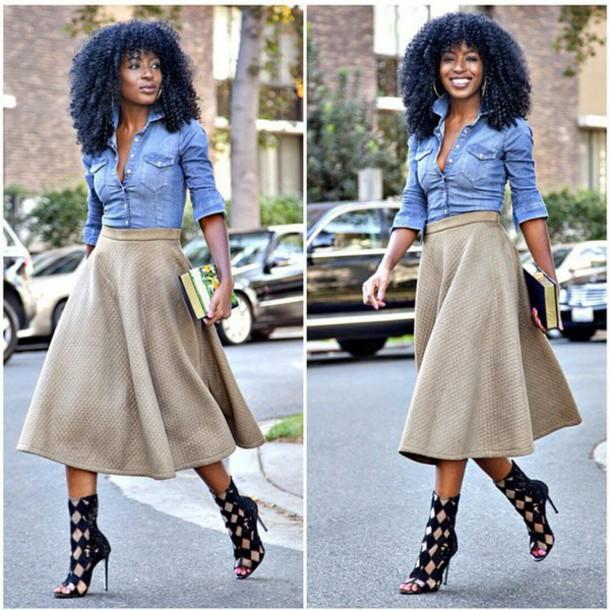 flyfashiondoll style skirt shoes shirt blouse jeans jeanshirt denim shirt fashion fashionista checkered heels high heels curly hair fall outfits black black heels cute high heels classy hoop earrings hoop earrings blogger