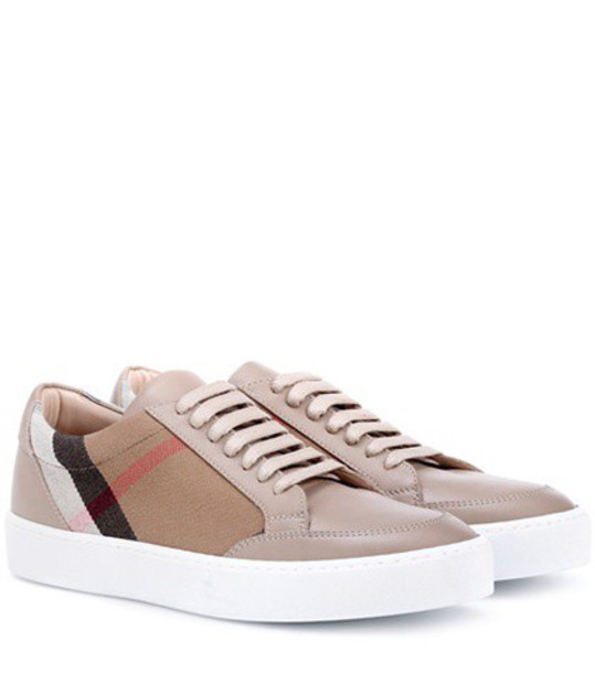 sneakers leather beige shoes