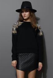 sweater,crystal bead,embellished,shoulder,sweat,top