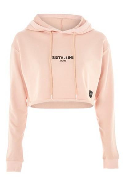 Topshop hoodie cropped hoodie cropped pink sweater