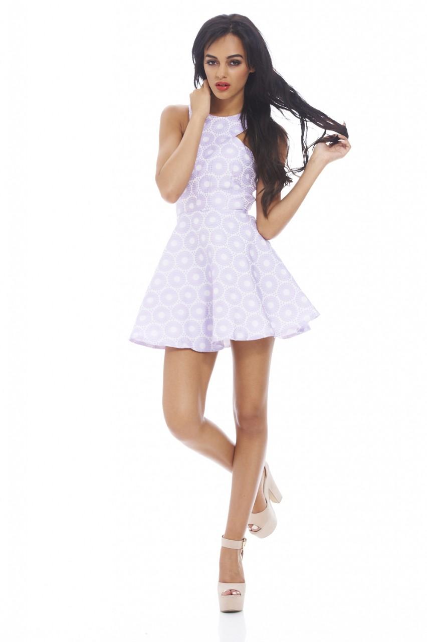Textured Printed Kick Out Skater Dress