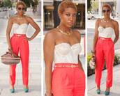 pants,corset top,purse,shoes,belt,necklace,glasses,bag,shirt