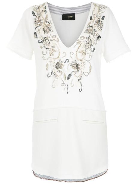 Andrea Bogosian top embroidered women white cotton