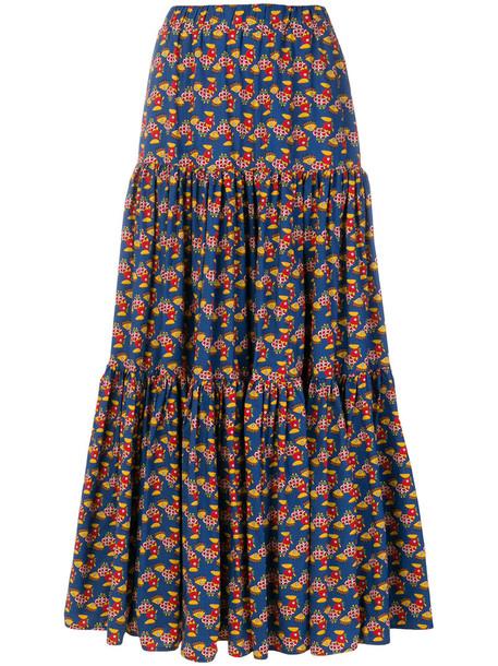 skirt patterned skirt women cotton blue
