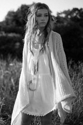 dress,hippie,white,black and white,indie,boho,bohemian,aztec,oldie,indian,hipster,festival,indian dress,festival dress,coachella,jacket,jewels,white dress,cardigan,oversized cardigan,jewelry,pinterest,clothes,peace,sweater,knitted cardigan,baige,boho chic,hippie dress,belt,hipppi,boho cardigan