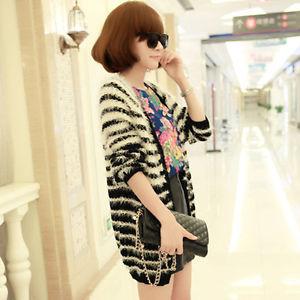 Korean Hot Women Girl Navy Style Stripe Loose Slim Long Knitted Cardigan Sweater | eBay