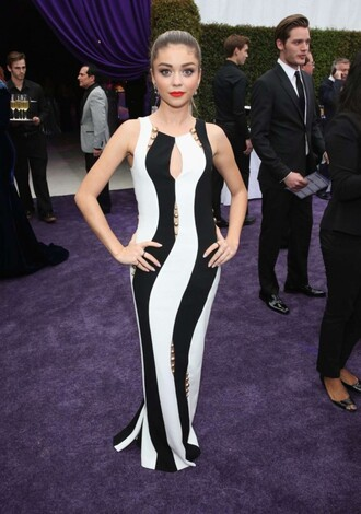 dress red carpet dress sarah hyland black and white dress gown