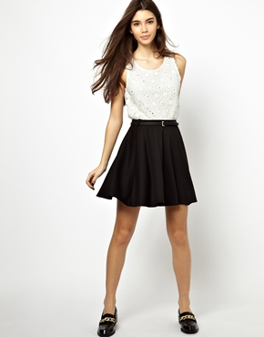 New Look | New Look Belted Skater Skirt at ASOS
