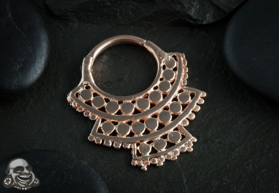 18k rose gold plated triple afghan septum clicker