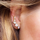 jewels,liliana skye,earrings,gem stone,moon,ear piercings,stud earrings,ear cuff,piercing,moonstones