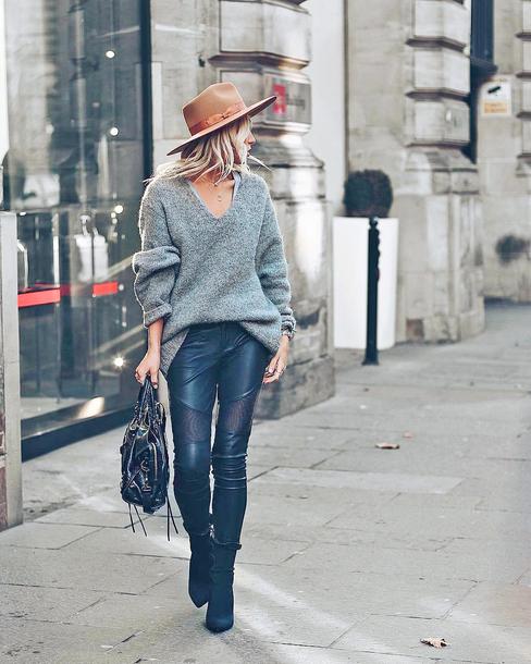 sweater hat tumblr grey sweater knit knitwear felt hat pants black pants leather pants black leather pants boots black boots