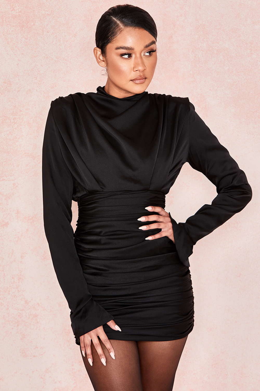 Clothing : Bodycon Dresses : 'Giorgiana' Black Satin Ruched Mini Dress
