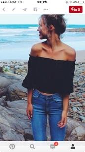 blouse,black top,black crop top,cut offs,cute top,off the shoulder top,off shoulder crop top,off the shoulder sweater,peasant top,jeans