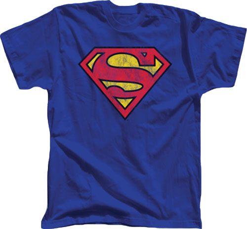 Superman Distressed Printed Logo Royal Blue Adult T-shirt - Superman - | TV Store Online