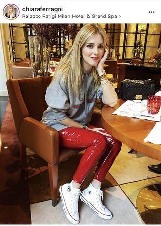 pants patent patent pants red chiara ferragni