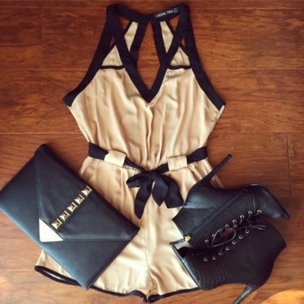 romper dress bag shoes tan black beige cut-out cream and black