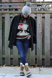 sequins and stripes,shoes,jeans,sweater,coat,hat,scarf