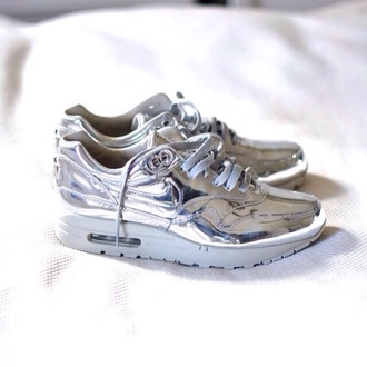 shoes nike nike sneakers metallic silver shoes silver sneakers silver metallic sneakers athleisure