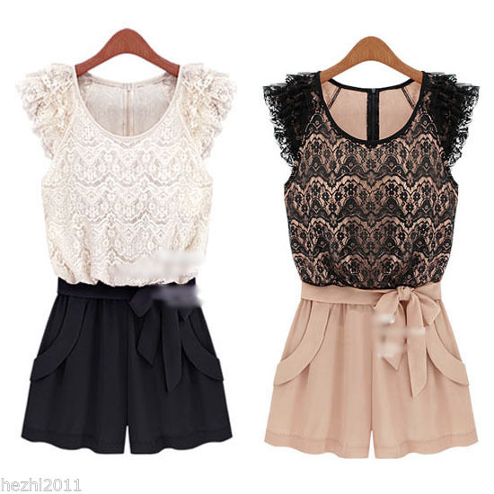 Women Round Neck Lace Chiffon Jumpsuit Waistband Shorts Sleeveless Rompers Dress | eBay