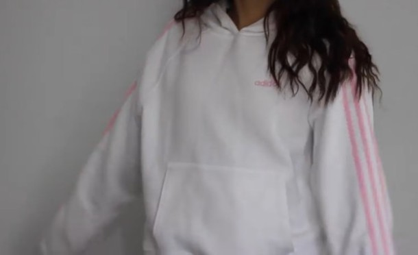 Legítimo Reverberación Modernizar  sweater, adidas, hoodie, white, pink, youtube, tumblr, instagram ...
