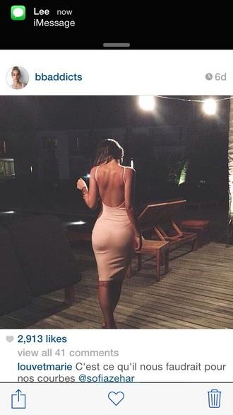 dress tight fit pink dress open back dresses