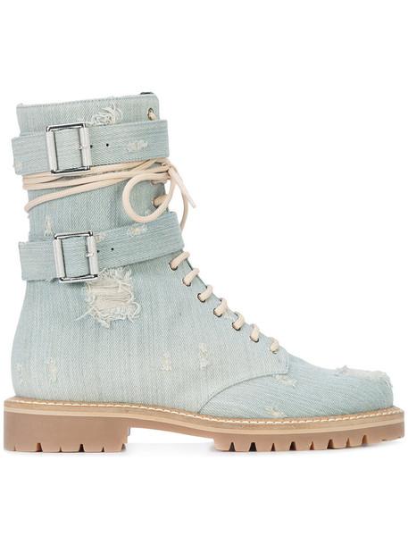 alexandre vauthier women lace up boots lace leather cotton blue shoes