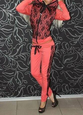 pants sportsuit hot pink suit coral jacket