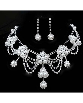 jewels pearl earrings women wedding jewelry sets necklace