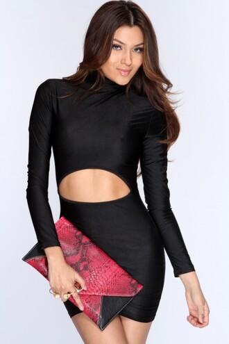 little black dress cute dress black dress cut-out dress bdycon dress bodycon dress ootn trendy