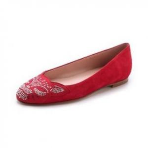 Stuart Weitzman  Red Kittycat Jeweled Flats - Sale