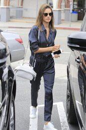 jumpsuit,pants,top,blouse,shirt,sneakers,stripes,striped pants,alessandra ambrosio,satin