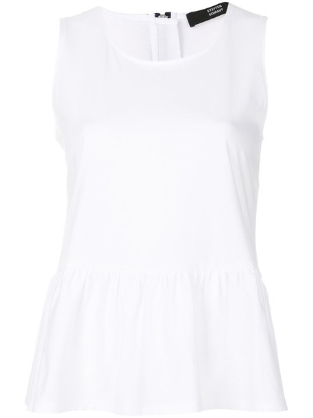blouse sleeveless women white cotton top
