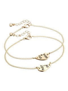 Partners' heart chain bracelet