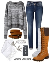 sweater,grey sweater,belt,skinny jeans,heart,ring,stay weird,boots,scarf,white,birds,earrings,socks,knee high socks,knee high boots,jewels