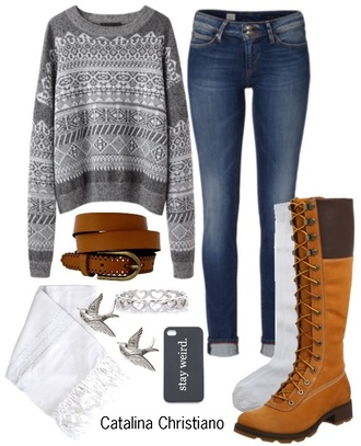 sweater earrings scarf jewels white ring socks boots belt grey sweater skinny jeans heart stay weird birds knee high socks knee high boots