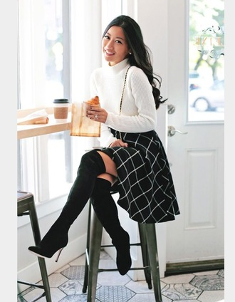 skirt grid line skirt midi skirt swing skirt