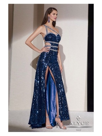 dress blue sequin leg slit blue sequin leg split prom dress diamond straps