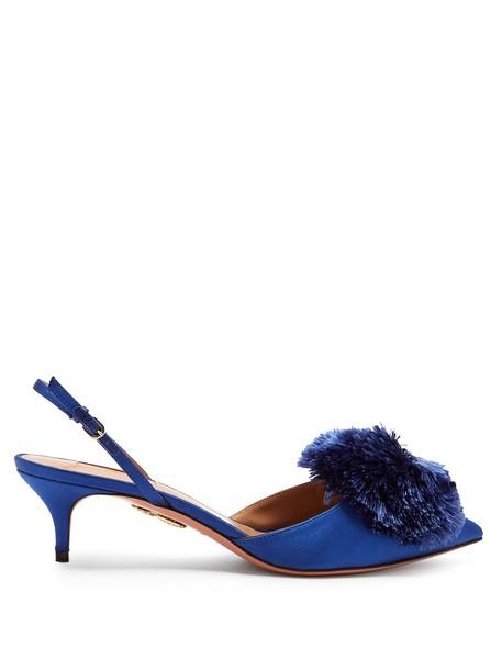 Aquazzura pumps satin blue shoes