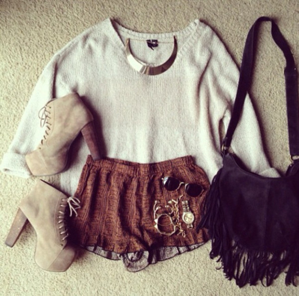 shorts fall outfits bag shoes
