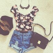 shirt,floral,High waisted shorts,wedges,necklace collar,tank top,shorts,bag,shoes,blouse,flowers,vintage,black,short,jersey,skirt,jewels,top