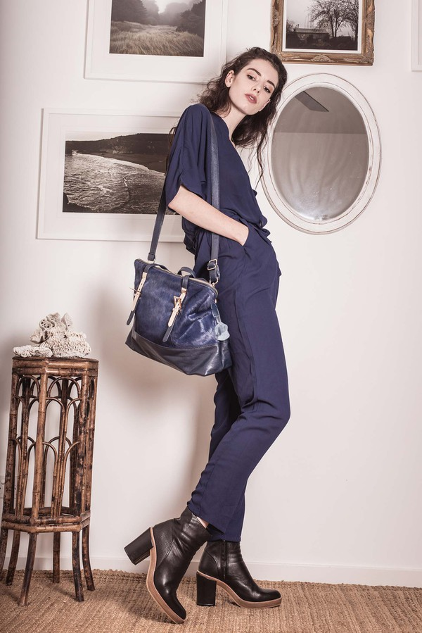 bag blue bag streetstyle stylemoi jumpsuit blue jumpsuit summer outfits